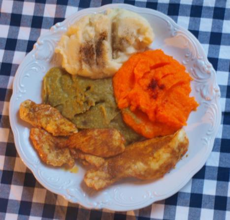 Kurczak w curry z purée w 3 kolorach