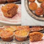 Owsiano-jabłkowe babeczki korzenne z bakaliami i pomarańczową glazurą