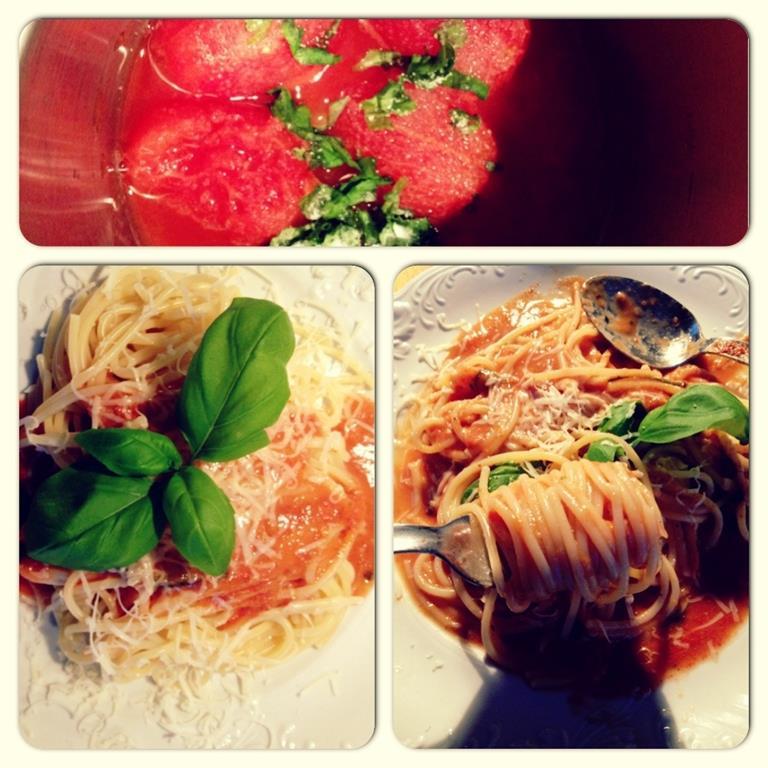 Pomidorowe spaghetti z 2 składników (+przyprawy) w 3 krokach w 10 minut