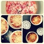 Proste mini zapiekanki z pomidorowego risotto z krewetkami