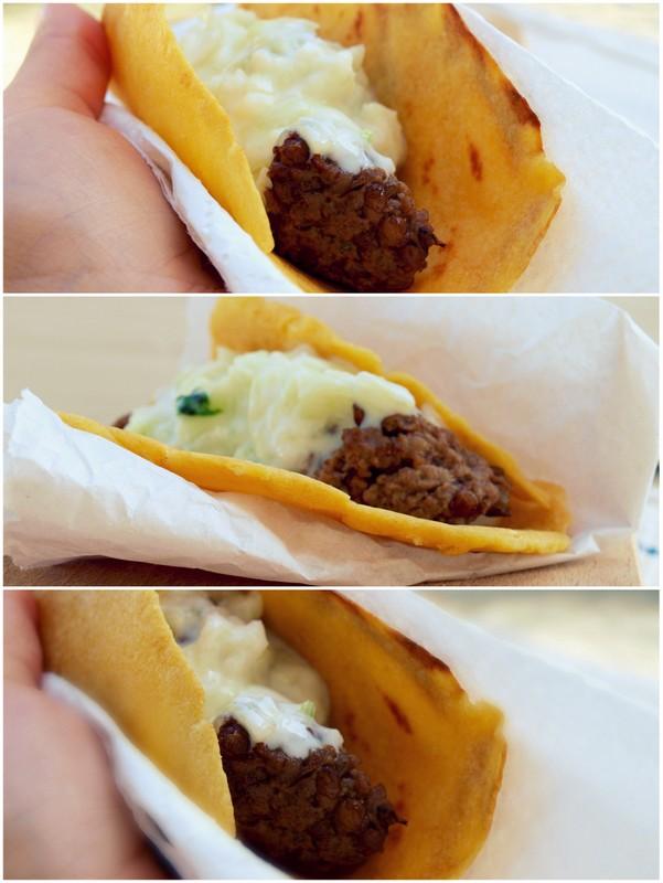 Wołowe kofty w kukurydzianej tortilli z tzatzikami