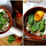 Jajko zapiekane na szpinaku, łososiu i pesto z ricottą