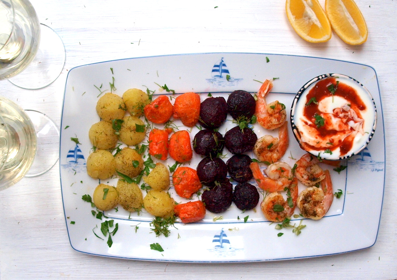 Krewetki z warzywami - proste danie, fancy serwis