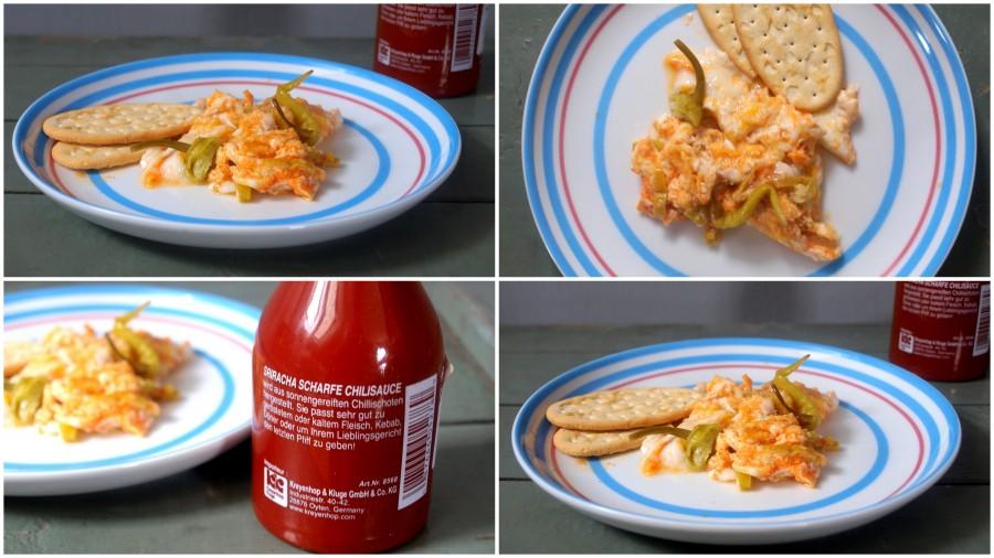 Stjuningowana jajecznica z papryczką chilli,  srirachą i nachosami/ Jajecznica meksykańska