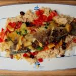 Ryba po marokańsku w szafranie, z kuskusem i salsą, wg Jamiego Olivera