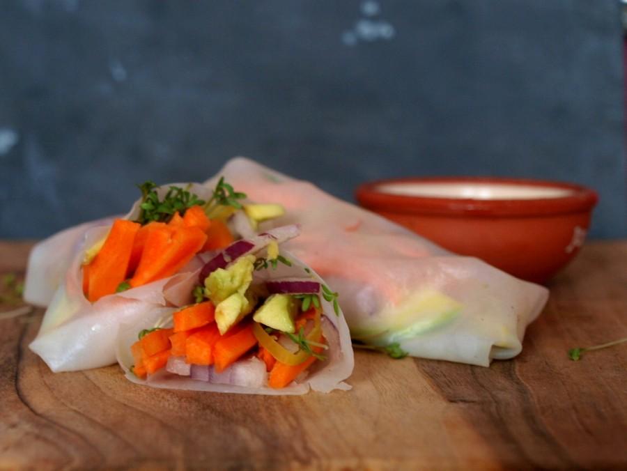Warzywne lekkie springrollsy (sajgonki z surowymi warzywami)