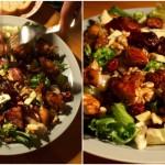 Sałatka z miodowo-sojowym kurczakiem, żurawiną, pleśniakiem i orzechami