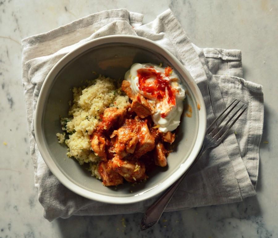 Kurczak w ajwarze z kuskusem i tzatzikami - łatwy szybki obiad